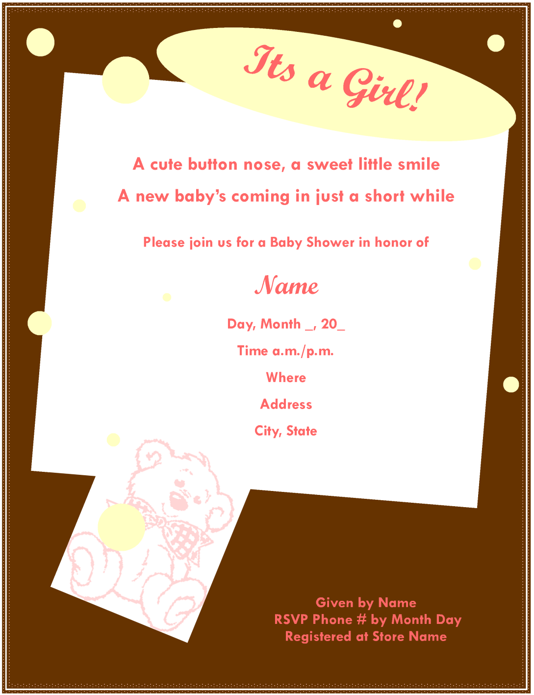 Baby Shower Invitation For Girl Template