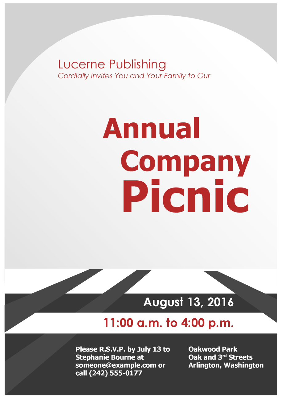 Company Picnic Invitation Flyer Template  Company Party Invitation Templates