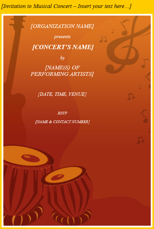 Invitation to Musical concert Template