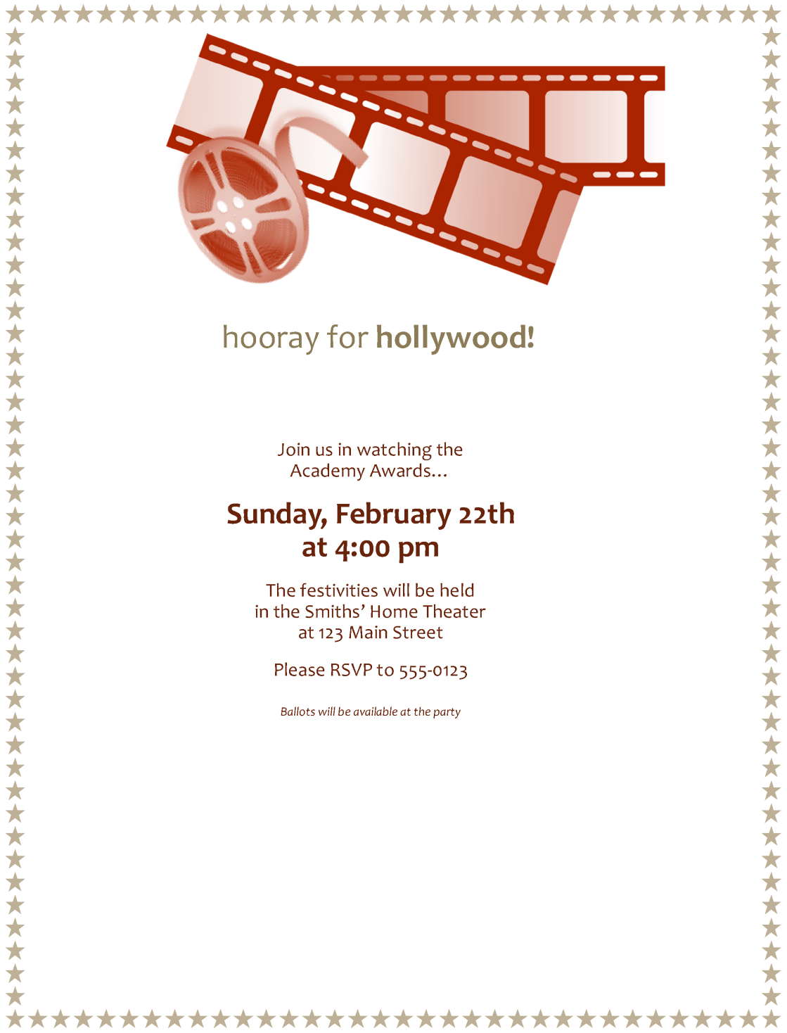 Movie awards party invitation Template