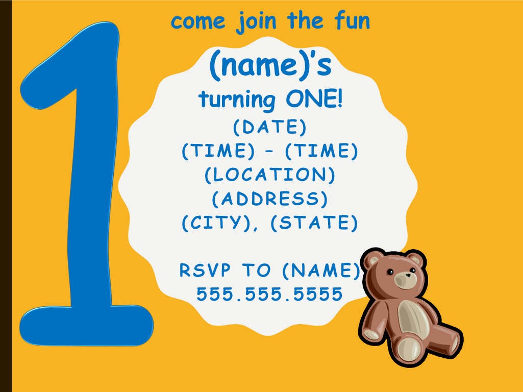 One Year Birthday Party Invitation - Boy Template