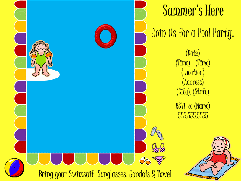 Pool Party Invitation Template – Free Summer Party Invitation Templates
